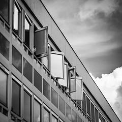 Fenetre sur Rennes (Mabel Lamour / Belma / ReineMab) Tags: windows white black building blanco sepia noir y negro et blanc rennes fenetre immeuble