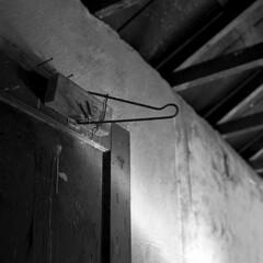 Hanger - Farmhouse Series (Baisao) Tags: bw abandoned 6x6 tlr film farmhouse mediumformat blackwhite squareformat pyro twinlensreflex 235 ilfordfp4 volente rolleiflex28c pyrocathd ei160 2880mmplanar