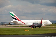 Emirates A380 A6-EDU taxiing while Jet2 B733 G-GDFH holds at MAN/EGCC (AviationEagle32) Tags: uk man manchester flying airport holding unitedkingdom aircraft aviation airplanes apron emirates planes airbus a380 boeing departure avp aeroplanes arrivals manchesterairport taxiing b737 ringway planespotting jet2 airbus380 boeing737 egcc b737300 superjumbo b733 aviationphotography jet2com a380800 a388 b737classic manchesteravp jet2holidays a6edu ggdfh jet2majorca flickraviation manchesterairportt1 manchesterairportatc