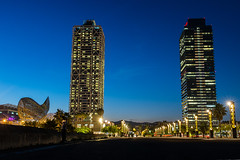 "294/365 "" Mapfre Tower & Hotel Arts"" (j.borras) Tags: barcelona street blue autumn tower night photography hotel bcn arts hour mapfre project365 xe1"