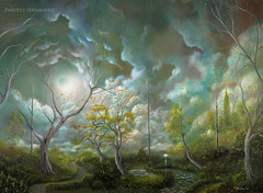 (Love is in the air) Acrylic Fantasy Landscape Painting By Artist Philippe Fernandez (Philippe_Fernandez) Tags: trees moon art night clouds painting stars landscape artist acrylic surreal fantasy philippe fernandez landscapepainting treepainting surrealpainting gothicpainting acryliclandscapepainting fairytaleillustrations littlegirlpainting fantasylandscapepaintings famouslandscapepaintings philippefernandezpaintings artistphilippefernandez famousmoonpaintings