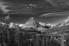 Two Medicine in Mono (Philip Kuntz) Tags: blackandwhite bw mono bravo montana monotone glaciernationalpark twomedicine praylake mtsinopah