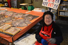 halmeoni (ViktorQuintero) Tags: travel people woman smile asia market stingray happiness seoul southkorea