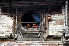 23-571 (ndpa / s. lundeen, archivist) Tags: city nepal people baby man color building brick film window architecture 35mm infant child candid nick citylife openwindow kathmandu 23 nepalese 1970s patan dewolf kathmanduvalley roundwindow nickdewolf photographbynickdewolf reel23 manigal