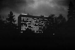 Smena Symbol - Bohunice Hospital at Dawn (Kojotisko) Tags: bw vintage crossprocess brno cc creativecommons vintagecamera czechrepublic smena smenasymbol
