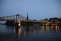 Frankfurt (Vasilis R.) Tags: travel bridge shadow sky holiday water colors night river photography amazing reisen nikon wasser colours photographer photos nacht frankfurt explore flus