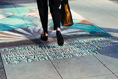 botticelli's art is lyric and poetic (Asher Isbrucker) Tags: street city people urban art feet vancouver painting graffiti chalk shoes paint suit sidewalk step
