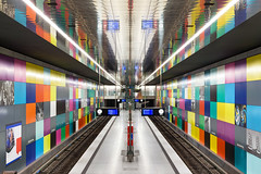 a collection of colourful tiles (yushimoto_02 [christian]) Tags: art station architecture train canon germany underground subway munich münchen geotagged arquitectura europe pattern metro mosaic patterns transport tube central tunnel symmetry ubahn architektur convergence symmetrical munchen bahn muenchen architectura mosaik converging zentral centralperspective georgbrauchlering zentralperspektive georgbrauchle