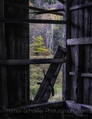 Autumnal view from old Barn~Waterbury VT (Thomas Schoeller Photography) Tags: autumn fall vermont country rustic barns newengland fallfoliage foliage oldbarns weathered vt countrylife waterburyvermont barnboard interiorpictures vermontautumn