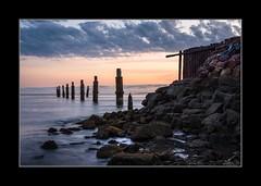 First Light (dtmateojr) Tags: sea seascape beach water sunrise rocks waves pentax sigma australia 1770 shorncliffe dtmateojr k5iis
