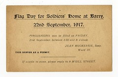 Flag Day for Soldiers Home at Barry - 22 September 1917 (Dundee City Archives) Tags: old olddundeephotos dundee photos worldwar1 ww1 great war postcard 19141918 flag day 1917 womens relief fund ward iv jean muckersie 22 september for soldiers home barry 8 mcgill street