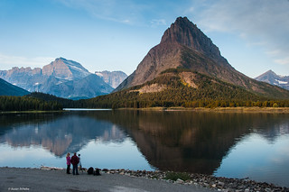 Waiting for the sun to set at Swiftcurrent Lake