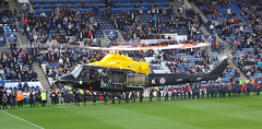 Helicopter prepares to land (lcfcian1) Tags: city west sport football king power stadium leicester 01 premiership brom prem bpl wba epl leicestercity lcfc westbromwichalbion 11114 wbafc kingpowerstadium