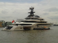 Kismet Super yacht (sarflondondunc) Tags: london riverthames southwark shadthames kismet superyacht shahidkhan kismetii