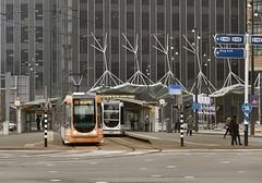 Trams op het Wilhelminaplein (Gerard Stolk (vers la Fête du Roi)) Tags: rotterdam kopvanzuid trams tram streetcat straszenbahn tramway wilhelminaplein