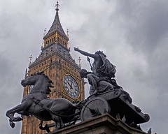 Boudiccan Rebellion. (karl from perivale) Tags: boudiccanrebellion statue bigben clock tower building architecture westminster london england gb uk city big ben