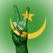 Peace Symbol with National Flag of Mauritania