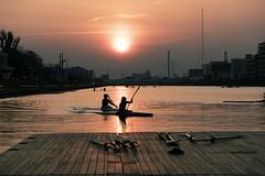 Two canoes at sunset (huzu1959) Tags: a7ii alpha7ii sonya7ii alphaa7ii sonyalpha7ii sonyalphaa7ii sony canoe boat boatcourse vanishingpoint sunset water toda saitama japan