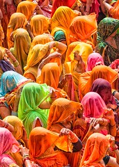 Ladies. (Padmanabhan Rangarajan) Tags: colours huranga holi mathura baldeo temple india festival celebrations sarees spraying ladies men