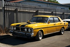 The Loved One (4oClock) Tags: carsinnewzealand nikon newzealand nz15 2015 car vehicle worldcars hastings hawkesbay ford falcon xy gt v8 musclecar rare yellow 351 seventies 70s streetparking racingstripes