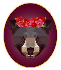 Urso (Mariah Santos G) Tags: art arte artedigital cor cores illustrator lowpoly animal fauna branco urso roxo flores ursa