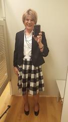 Buffalo Checks (krislagreen) Tags: tg tgirl transgender transvestite cd crossdress tv skirt checks jacket whiteblouse pumps patent hose femme feminized feminization