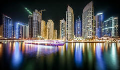 Dubai Marina Night Cruise (hpd-fotografy) Tags: architecture center city cityscape dubai future longexposure marina neon night nightphotography reflection skyline skyscraper uae water