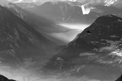 A flight above the Val De Bagnes (clicheforu) Tags: aflightabovethevaldebagnes valdebagnes bagnes valais suisse switzerland schweiz verbier alpes mountains landscape view nature altitude flight paragliding blackandwhite light atmosphère fog