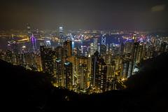 Hong Kong from Victoria Peak just past sunset (Tim van Woensel) Tags: hong kong travel asia victoria peak cityscape city past sunset long exposure skyline skyscraper skyscrapers urban mount austin island panoramic view waterfront night
