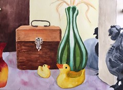 Bath Ducks (Handwork Naturals) Tags: watercolor rubberduck ducks antiquevase vase box woodenbox wood painting soupandpaint