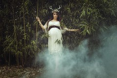 Her deer heart, a new life is coming (Marty085) Tags: model naturallight smoke forest nature deer fertility maternity magic atmosphere woman art portrait poetry