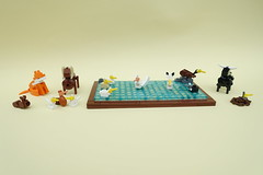 Tablescrap Animals Part 3 (-Balbo-) Tags: lego fox squirrel chipmunk gull ram chicken duck swan bull bird animals brickbuilt bauwerk moc creation tiere fuchs enten schwan