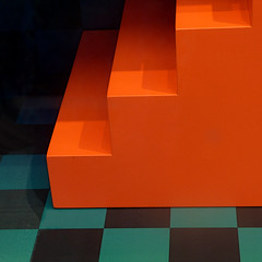 not for climbing (msdonnalee) Tags: abstractreality checks shadow orange displaystand geometry minimalism