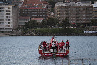 MAPFRE coming into port after dismasting during pre-race testing session for the Volvo Ocean Race 2017-18