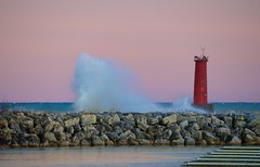 Evening Spray (imageClear) Tags: lighthouse waves spray northpier sheboygan wisconsin sheboyganlighthouse nature windy evening pier crashingwaves aperture nikon d600 80400mm imageclear flickr photostream