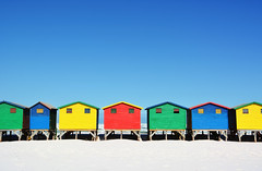 Color Houses [Explored] (DILLEmma Photography) Tags: colorful houses beach sky blue red orange green huts symmetry minimalism muizenberg southafrica za roofs geometry
