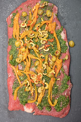 Flank Steak Prepared With Stuffed Ingredients (Transient Eternal) Tags: food baked beef butcher carnivore cheddar cheese chicken cut cuttingboard dinner eat flanksteak flat garlic gettogether gourmet ingredients lunch meal meat montereyjack nutients nutrition olives oven parsley party peppers plate raw rawmeat roast roasted roll salted savory slices spices tasty