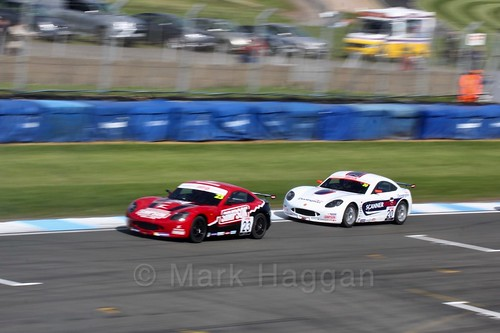 Tom Gamble and Tom Wood in Ginetta Junior Race One during the BTCC Weekend at Donington Park 2017