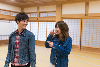 Young couple walking in Japanese tatami room