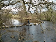 Crossing the River Derwent (basher!) Tags: river stepping stones