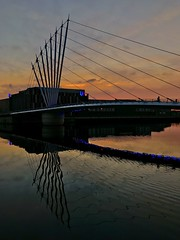 The Lowry Bridge (Mike Westwood) Tags: sunset iphone bridges thelowry manchestershipcanal