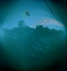 Solargraphy (EddieDerbyshire) Tags: road street blue trees light sun sunlight exposure view angle wide trails pinhole month solargraphy solarigraphy