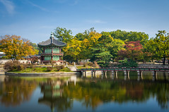 Gyeongbokgung Palace (Joshua Davenport) Tags: travel bridge lake island footbridge landmark korea seoul pavilion southkorea royalpalace gyeongbokgung historicalbuilding palacegrounds gyeongbokgungpalace famousplace hyangwonjeong koreanculture koreanarchitecture koreanpalace hyangwonjeongpavilion travelbackground seoullandmark koreabackground