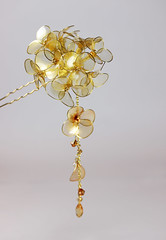 Hair Pin Gold Bouquet (BestPeople.Ca) Tags: floral hair japanese gold crystals pin ornament stick accessories hydrangea bouquet swarovski kanzashi bestpeopleca