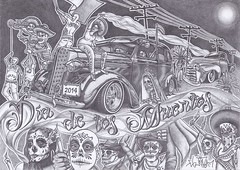 Da de los Muertos (Day of the Dead) (EL JOHAN 8) Tags: street old boy people en woman brown moon man art girl up hat car wheel tattoo night suomi finland dark de dead mexico soldier skull sketch gangster los day candle power smoke text low 8 style pride el dia line muerte mexican chrome soul latin muertos bone bullet sombrero draw script pick oldies rider da johan vato finlandia chicano hecho 2014 cholo