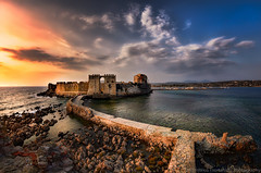 castle at Methoni (dtsortanidis) Tags: old travel sunset sea summer sky sun castle canon photography europe fisheye greece vacations aaa dimitris meditteranean dimitrios methoni peloponnisos 815mm tsortanidis dtsortanidis