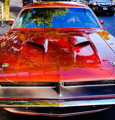 Tangible Beauty (principonemio) Tags: red color crimson car america 60s unitedstates muscle engine plymouth american 70s restored restoration motor petrol barracuda musclecar luster brandnew hemicuda