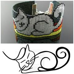 Petcat bead loomed bracelet - A HeatherCat (CatsWire) Tags: armband cat bracelet katze petcat beadweaving perlenweben heathercat beadlooming
