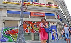 Macedonia, Thessaloniki, young woman in pink mini dress, & graffiti on eurobank's shutters #acedonia (Macedonia Travel) Tags: sun history greek ancient republic fifa great culture eu greece un macedonia ohrid thessaloniki alexander orthodox philip uefa nato stip matka gostivar skopje macedon macedonian mavrovo prilep fiba aegeansea bitola vergina gevgelija struga veles strumica heraclea debar kumanovo tetovo greecemacedonia negotino lyncestis verginasun macedonianstar kavadarsi macedoniablog 12761745n