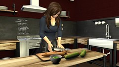 Dinner will be ready soon (alexandriabrangwin) Tags: world wood old blue food woman black cooking kitchen vegetables leather shirt computer bench island 3d graphics pants oven sink steel board fixtures knife gas secondlife virtual cutting peas carrots preperation zippers cucumbers stainless cgi fittings rangehood eaglereach alexandriabrangwin